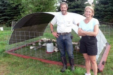 With Kim and his free range chickens - July 2010